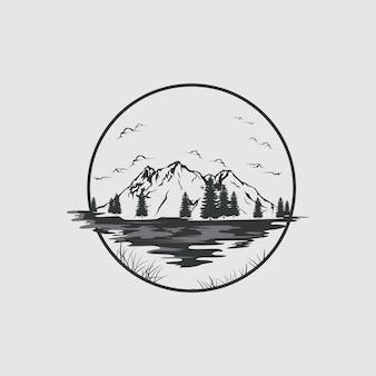 Meer en bergen logo in vintage stijl