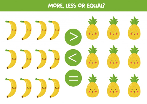 Meer, minder, gelijk. vergelijking van schattige kawaii-vruchten