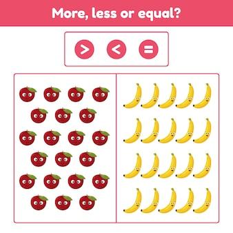Meer, minder of gelijk. educatief wiskundig spel voor kinderen in de voorschoolse en schoolleeftijd. fruit. appel en bananen. illustratie.