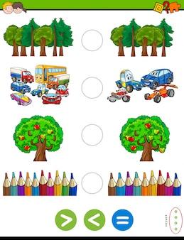 Meer of minder cartoongame voor kinderen