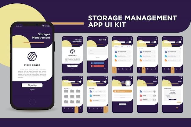 Meer ui kit-sjabloon voor app voor opslagruimte-opslag