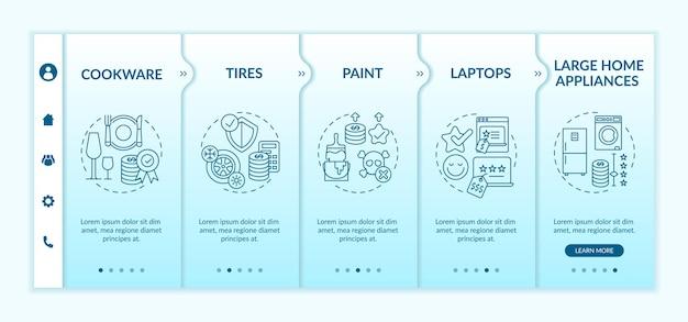 Meer uitgeven voor onboarding-sjabloon voor items van hoge kwaliteit. verf, laptops, grote huishoudelijke apparaten. responsieve mobiele website met pictogrammen. doorloopstapschermen voor webpagina's. kleur concept