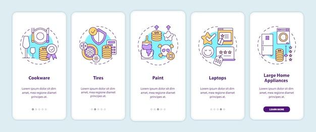 Meer uitgeven voor producten van hoge kwaliteit op het scherm van de mobiele app-pagina met concepten