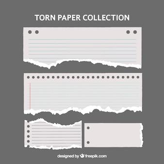 Meerdere gescheurde documenten met verschillende vormen