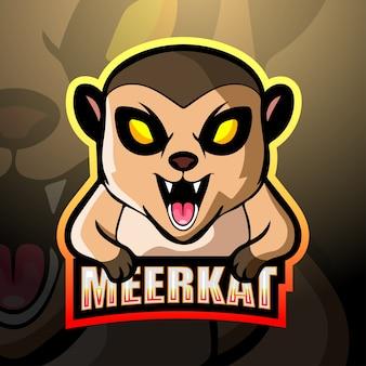 Meerkat mascotte esport logo ontwerp