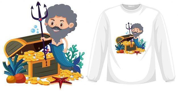 Meerman op shirt met lange mouwen