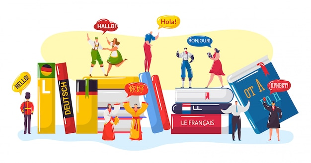 Meertalige groet, cartoon kleine mensen mensen in traditionele nationale kleding begroeten en zeggen hallo