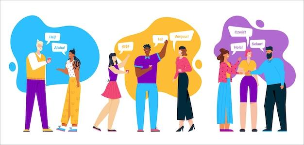 Meertalige groetgroep mensen scene. vriendelijke mannen en vrouwen die in verschillende talen praten en hallo zeggen