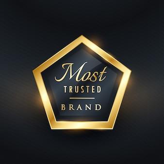 Meest betrouwbare merk gouden label en badge vectorsymbool