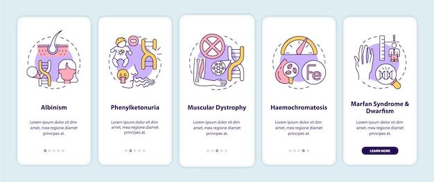Meest voorkomende genetische aandoeningen onboarding paginascherm van mobiele app met concepten