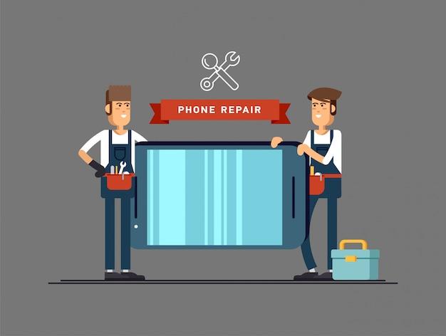 Meester repareren van mobiele telefoon. illustratie in de stijl voor uw.