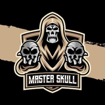 Meester schedel esport logo karakter icoon