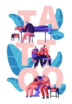 Meesters die tatoeages maken voor mannelijke en vrouwelijke personages. cartoon vlakke afbeelding