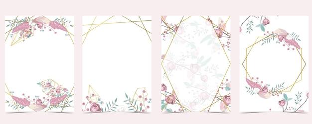 Meetkunde roze gouden bruiloft uitnodigingskaart met roos, blad, krans, veer en frame