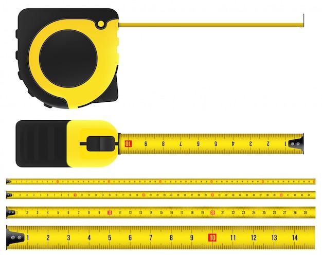 Meetlint, gereedschap, liniaal, meter en roulette.