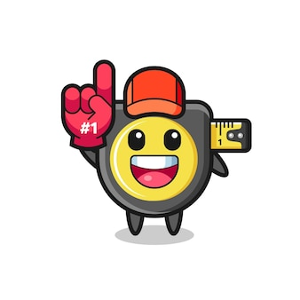Meetlint illustratie cartoon met nummer 1 fans handschoen, schattig design