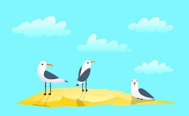 Meeuwen op zandbank en wolken mariene illustraties cartoon geïsoleerde objecten op marine blauwe achtergrond.