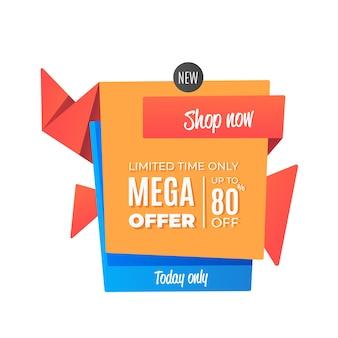 Mega biedt verkoop origami-stijl