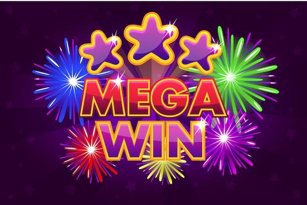 Mega big win banner voor loterij- of casinospellen. gekleurde sterren schieten
