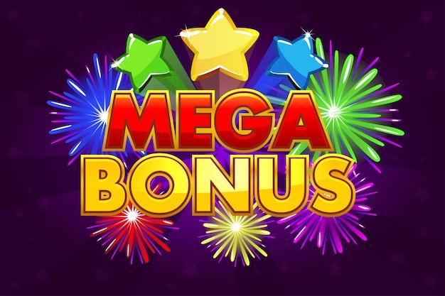 Mega bonus banner voor loterij- of casinospellen. gekleurde sterren en vuurwerk schieten