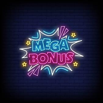 Mega bonus neon-stijl tekst