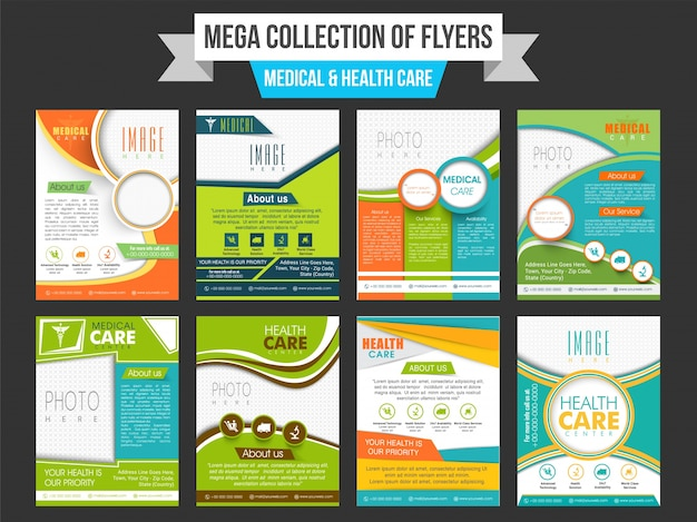Mega collectie van medical and health care folders met ruimte om uw afbeelding toe te voegen