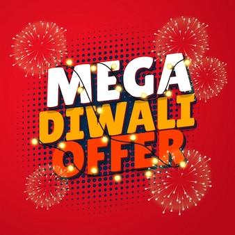 Mega diwali verkoop sjabloon met vuurwerk en opknoping lampen