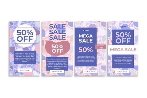 Mega online verkoop instagram verhalen terrazzo hand getekende stijl