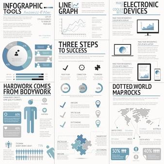 Mega pack van infographic grafieken, grafieken, taarten, opties, elementen vector
