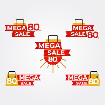 Mega sale badges collectie boodschappentas met mega sale badges collectie