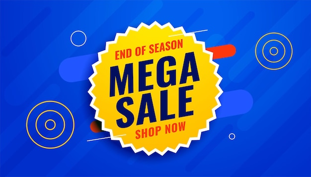 Mega sale banner in blauwe en gele kleuren