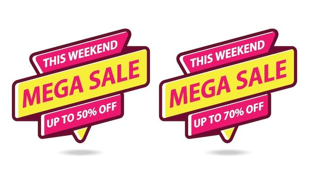 Mega sale banner sticker sjabloon vector