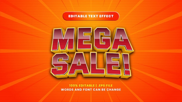 Mega sale bewerkbaar teksteffect in moderne 3d-stijl