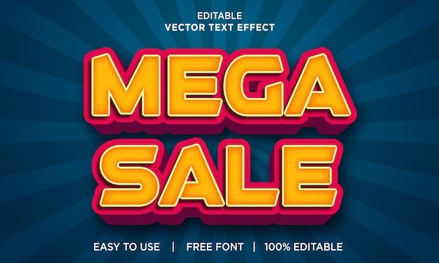 Mega sale bewerkbaar teksteffect met premium vector