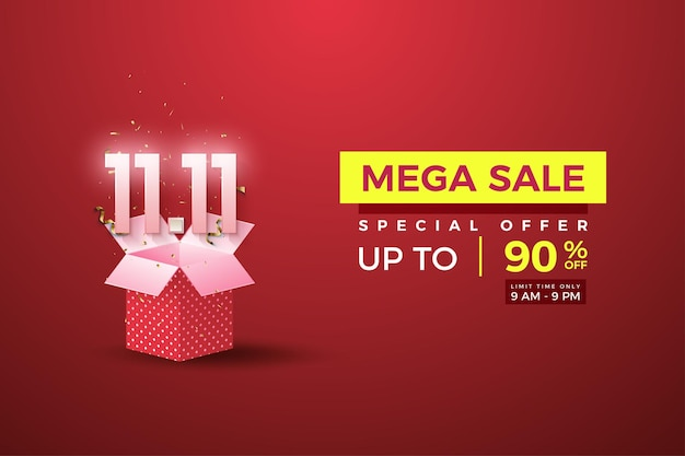 Mega sale bij 1111 sale met nummers boven de geschenkdoos