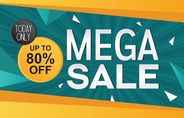 Mega sale discount aanbieding promotie web app banner vectorillustratie