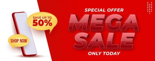 Mega sale online winkelen verticale bannerpromotie om uw bedrijf te promoten