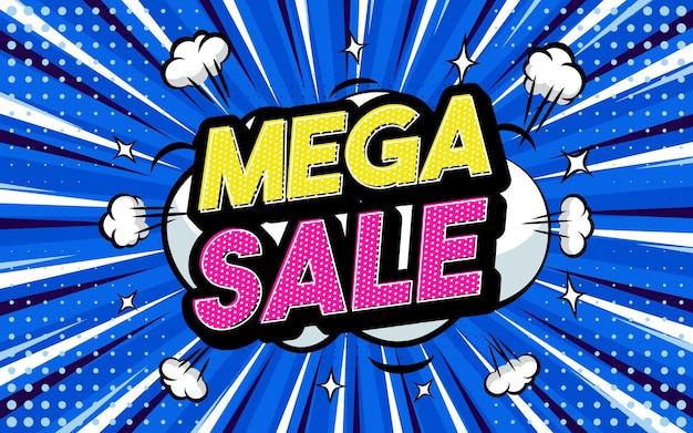 Mega sale pop-art stijl zin komische stijl