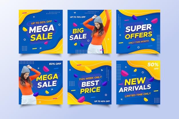 Mega sale social media posts met korting