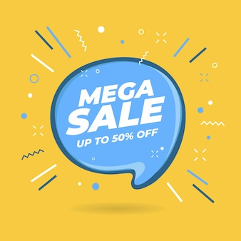 Mega sale-tekstballonvormige banners.