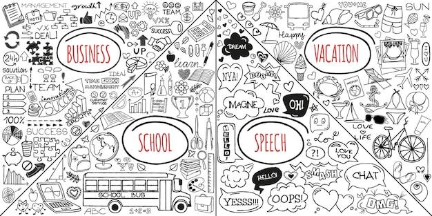 Mega set doodles. super verzameling banners, pijlen, terug naar school, romantische liefde, zaken en financiën, vakantie, sociale media, gezondheidszorg en winkelelementen. creatieve infographic pictogrammen