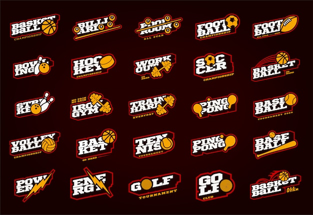 Mega sport logo set. moderne professionele sport typografie in retro stijl