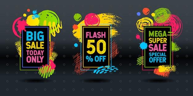 Mega super grote flash verkoop penseelstreek frame abstract dynamisch krijtbord graphics kleurrijke elementen ontwerpen bedrijf