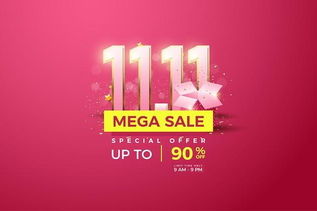 Mega-uitverkoop bij 1111-uitverkoop met cijfers en illustratie van de geschenkdoos