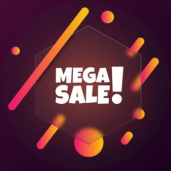 Mega-uitverkoop. de banner van de toespraakbel met de tekst van de megaverkoop. glasmorfisme stijl. voor zaken, marketing en reclame. vector op geïsoleerde achtergrond. eps-10.