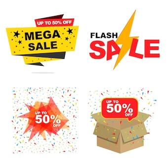 Mega-uitverkoop, flash-uitverkoop, korting tot 50 procent set bannerverkoopconcept