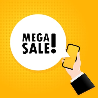 Mega-uitverkoop. smartphone met een bellentekst. poster met tekst mega sale. komische retro-stijl. telefoon app tekstballon.