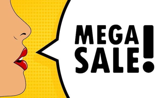 Mega-uitverkoop. vrouwelijke mond met rode lippenstift schreeuwen. tekstballon met tekst mega verkoop. kan worden gebruikt voor zaken, marketing en reclame. vectoreps 10.
