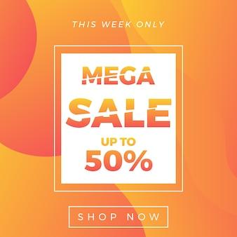 Mega-uitverkoopbanner met 50% korting