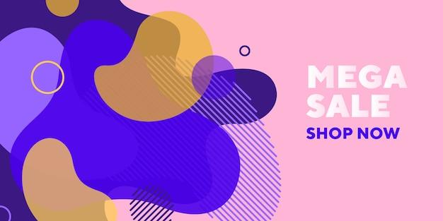 Mega verkoop abstracte banner met transparante vormen